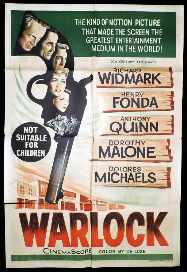 WARLOCK One Sheet Movie Poster Richard WIdmark