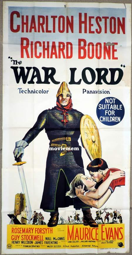 THE WAR LORD Original 3 Sheet Movie Poster Charlton Heston