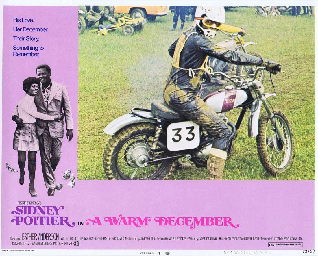 A WARM DECEMBER Lobby Card 7 Sidney Poitier Esther Anderson Motorcycle Biker