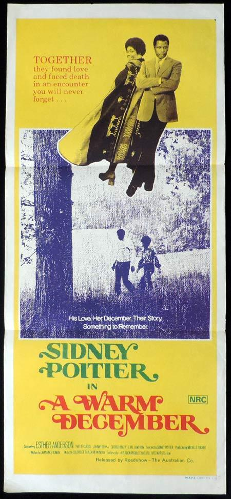 A WARM DECEMBER Original Daybill Movie Poster Sidney Poitier