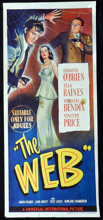 THE WEB Daybill Movie Poster 1952 Film Noir Ella Raines