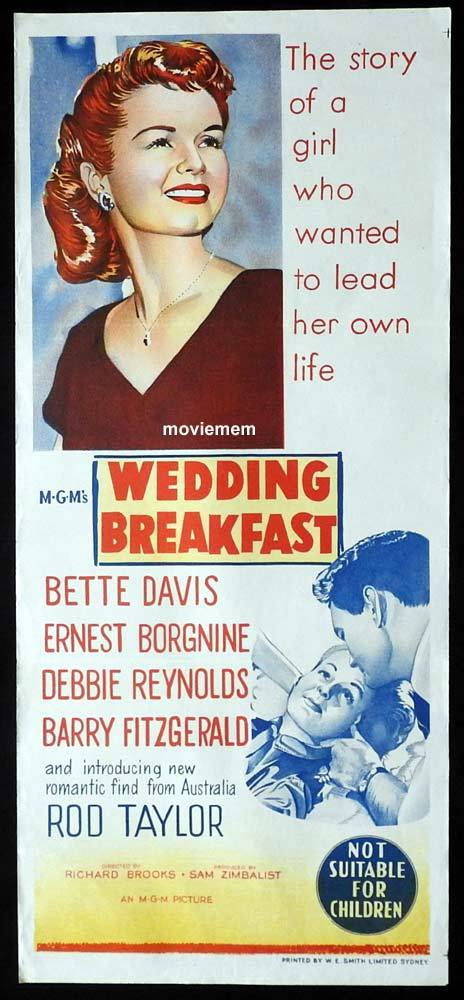 WEDDING BREAKFAST Original Daybill Movie Poster Bette Davis Ernest Borgnine