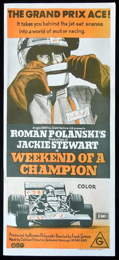 WEEKEND OF A CHAMPION Original Daybill Movie Poster Jackie Stewart Roman Polanski