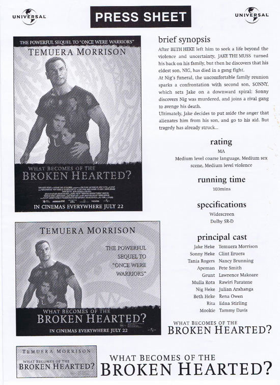 WHAT BECOMES OF THE BROKEN HEARTED Rare AUSTRALIAN Movie Press Sheet