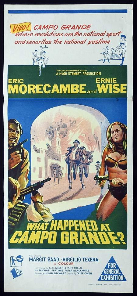 WHAT HAPPENED AT CAMPO GRANDE Original Daybill Movie poster Eric Morecambe Ernie Wise