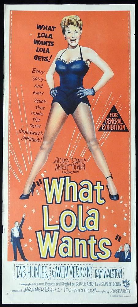 WHAT LOLA WANTS Original Damn Yankees Daybill Movie Poster Tab Hunter Gwen Verdon