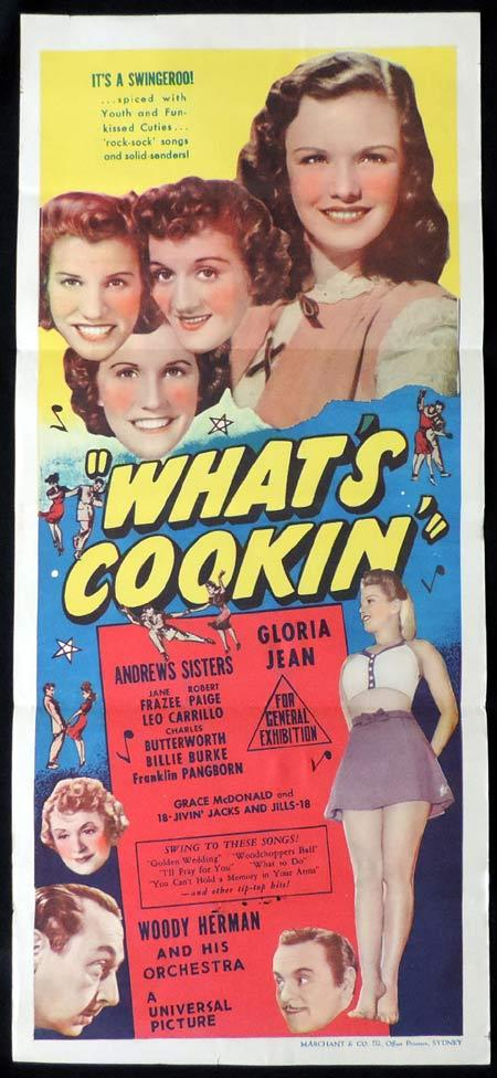 WHAT'S COOKIN Original Daybill Movie Poster The Andrews Sisters Marchant Graphics