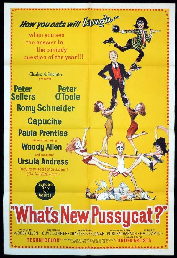 WHAT'S NEW PUSSYCAT Original One sheet Movie Poster Peter Sellers Woody Allen Peter O'Toole