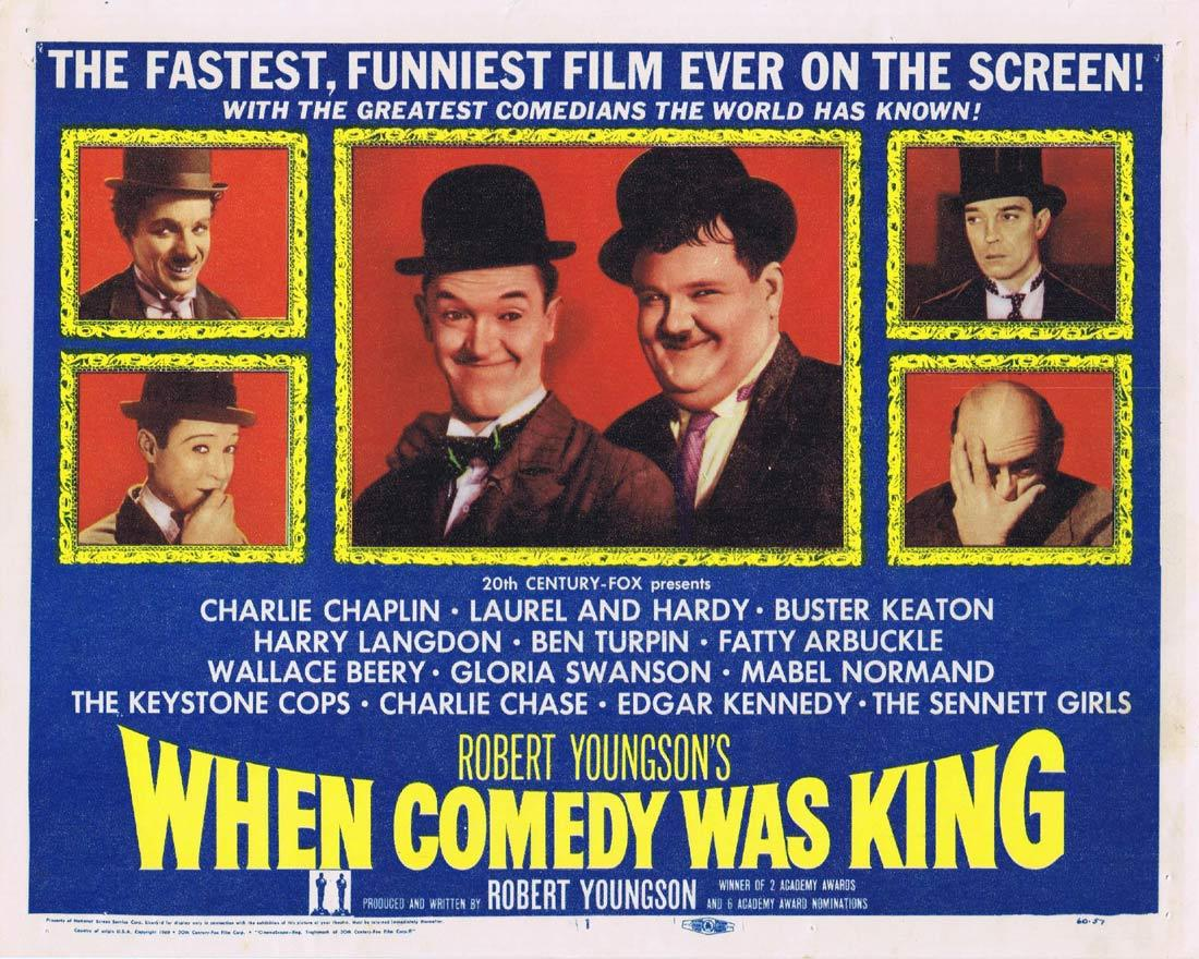 WHEN COMEDY WAS KING Title Lobby Card Charles Chaplin Laurel and Hardy Buster Keaton
