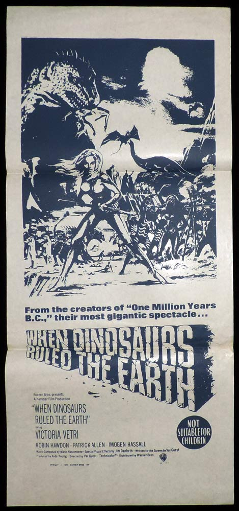 WHEN DINOSAURS RULED THE EARTH Original Daybill Movie Poster  Victoria Vetri Hammer BW