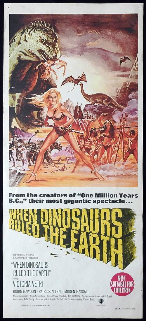 WHEN DINOSAURS RULED THE EARTH Original Daybill Movie Poster HAMMER FILMS Victoria Vetri
