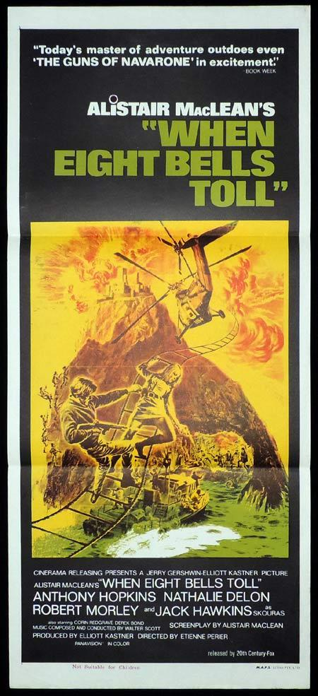 WHEN EIGHT BELLS TOLL Original Daybill Movie Poster Anthony Hopkins Alistair MacLean