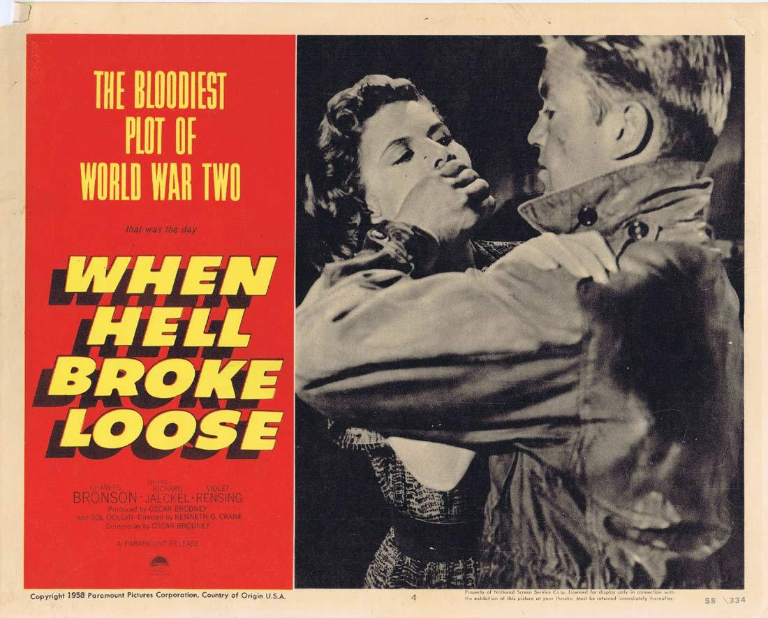 WHEN HELL BROKE LOOSE Original Lobby Card 4 Richard Jaeckel Violet Rensing