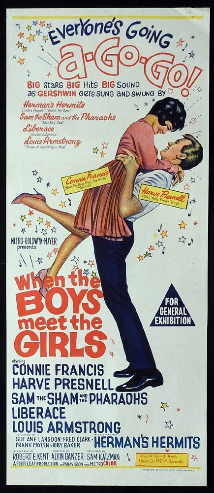 WHEN THE BOYS MEET THE GIRLS Original Daybill Movie Poster Harve Presnell Connie Francis