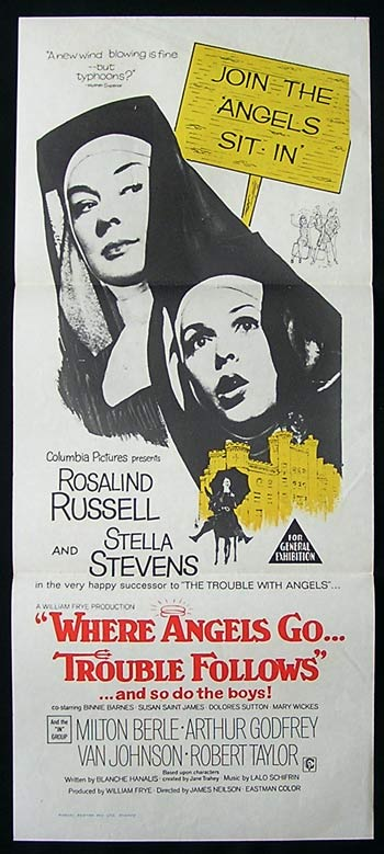 WHERE ANGELS GO TROUBLE FOLLOWS Original Daybill Movie Poster Rosalind Russell Stella Stevens