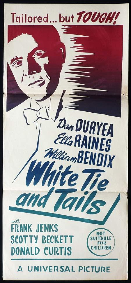 WHITE TIE AND TAILS Original Daybill Movie Poster Dan Duryea Ella Raines 50sr