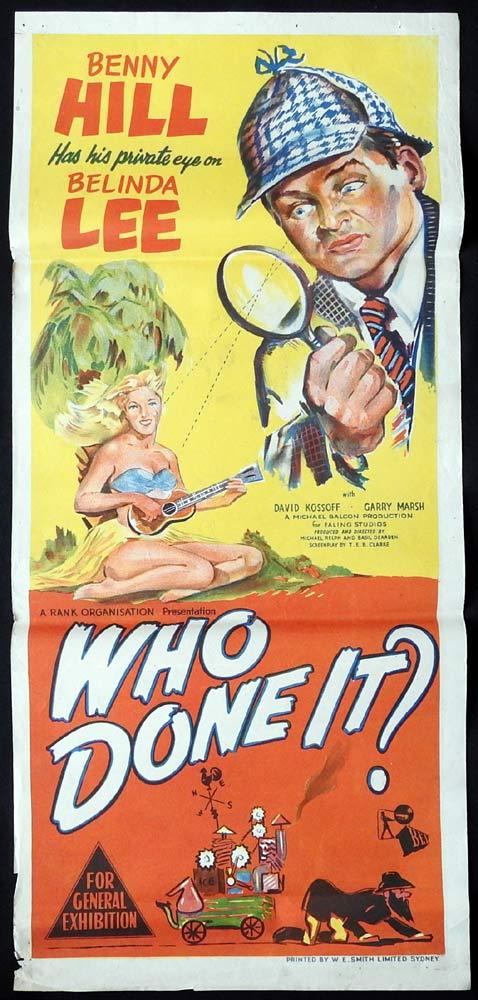 WHO DONE IT Rare  Daybill Movie Poster Benny Hill Ealing  Studios Basil Dearden