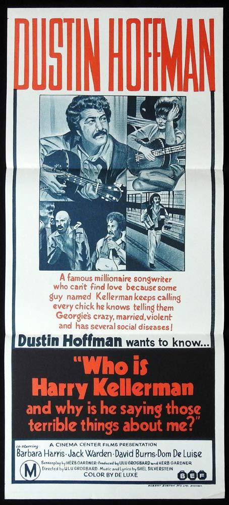 WHO IS HARRY KELLERMAN Rare Daybill Movie Poster Dustin Hoffman Barbara Harris