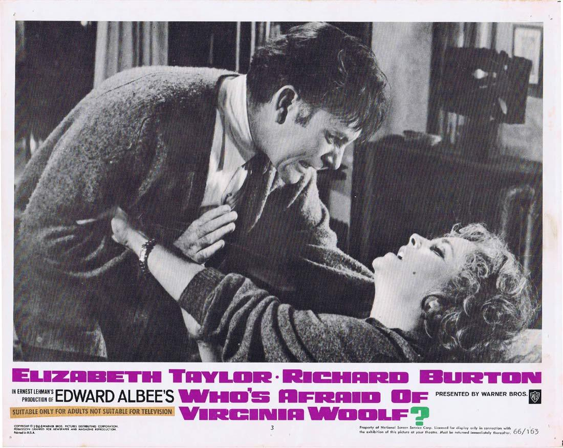 WHO'S AFRAID OF VIRGINIA WOOLF Original Lobby Card 3 Elizabeth Taylor Richard Burton