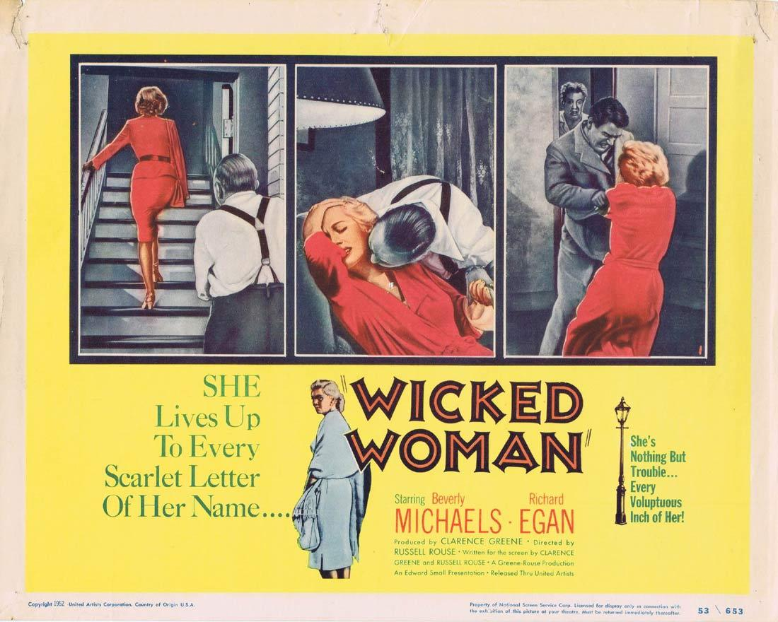 WICKED WOMAN Title Lobby Card Beverly Michaels Richard Egan Percy Helton