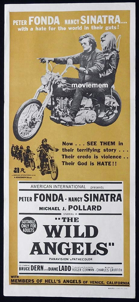 THE WILD ANGELS Original Daybill Movie Poster Nancy Sinatra Peter Fonda