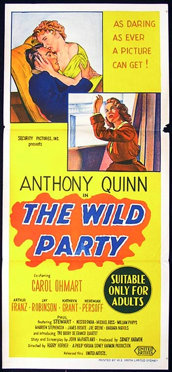 THE WILD PARTY daybill Movie poster Anthony Quinn Carol Ohmart