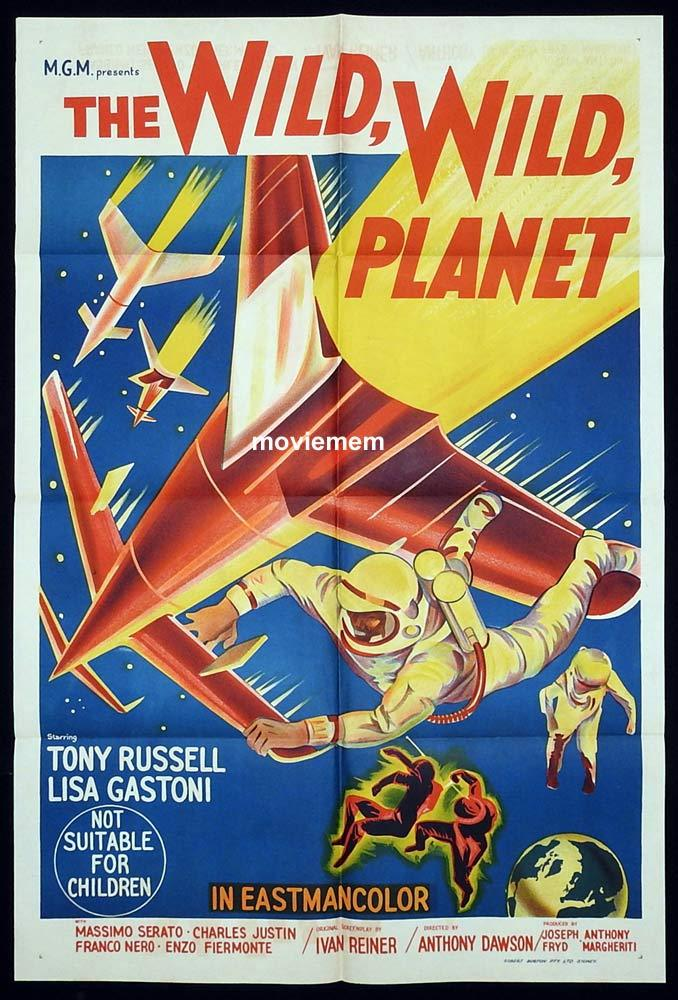 THE WILD WILD PLANET Original One sheet Movie Poster  Tony Russel SCI FI Lisa Gastoni