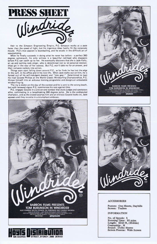 WINDRIDER Rare AUSTRALIAN Movie Press Sheet