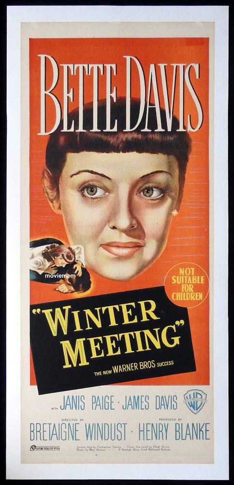 WINTER MEETING Original LINEN BACKED daybill Movie poster BETTE DAVIS