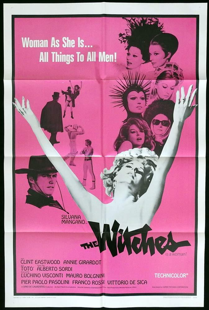 THE WITCHES Original One sheet Movie poster Silvana Mangano Clint Eastwood