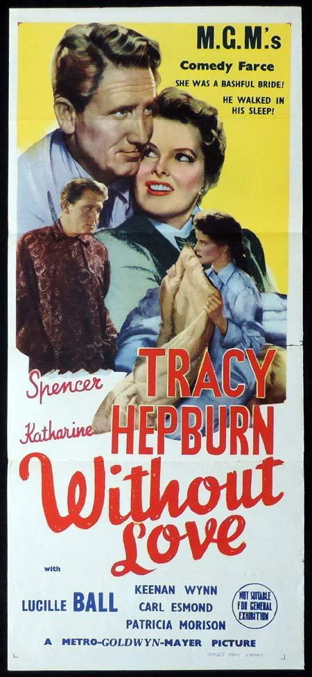 WITHOUT LOVE Original Daybill Movie Poster Katharine Hepburn Spencer Tracy Marchant Graphics