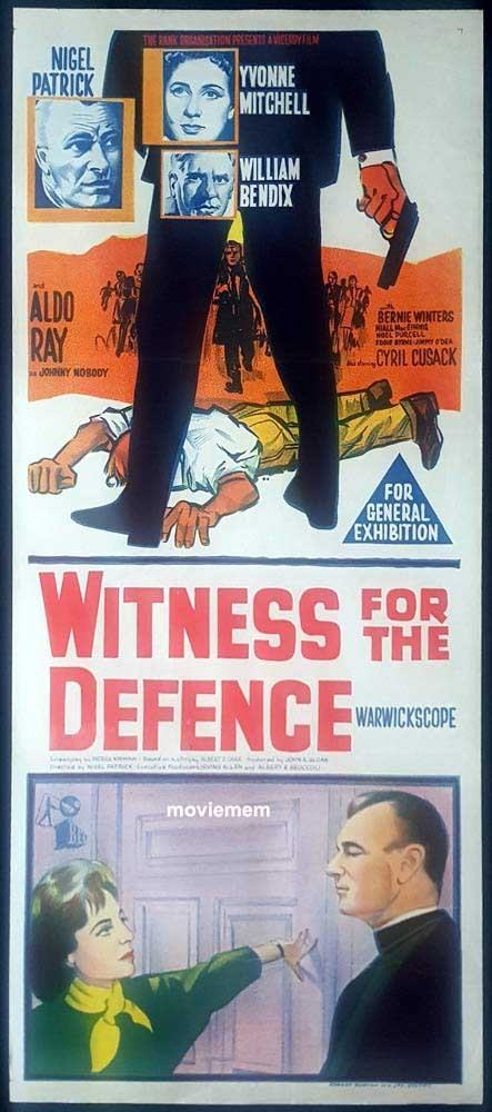 WITNESS FOR THE DEFENCE aka Johnny Nobody Original Daybill Movie Poster