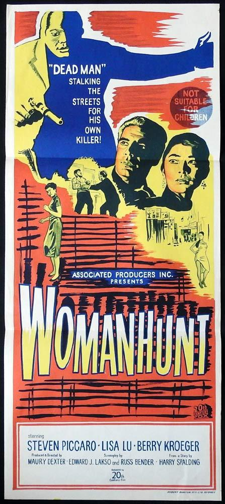 WOMANHUNT Original Daybill Movie Poster Steve Peck Lisa Lu