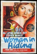 WOMAN IN HIDING One Sheet Movie Poster IDA LUPINO Film Noir
