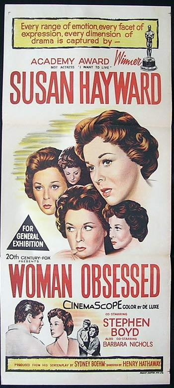 A WOMAN OBSESSED '59 Susan Hayward Movie poster