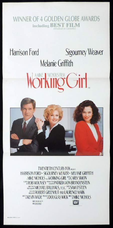 WORKING GIRL Original Daybill Movie Poster Sigourney Weaver Harrison Ford