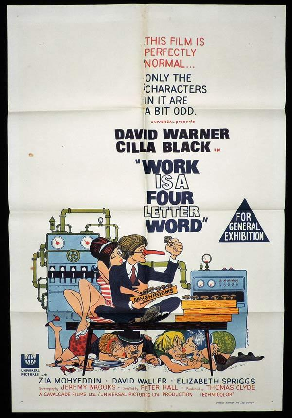 WORK IS A FOUR LETTER WORD Australian One sheet Movie poster Cilla Black