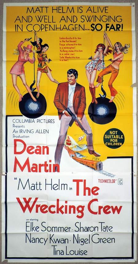 THE WRECKING CREW Original 3 Sheet Movie Poster Dean Martin as Matt Helm