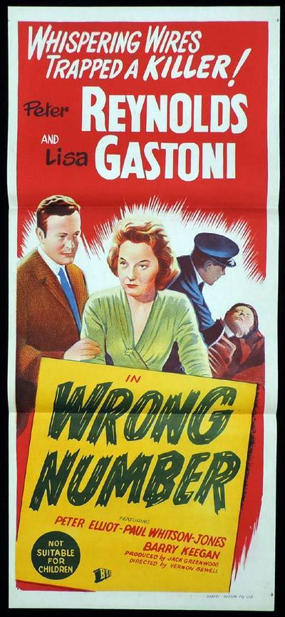 WRONG NUMBER Daybill Movie poster Film Noir Crime