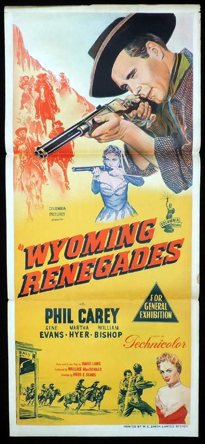 WYOMING RENEGADES Daybill Movie Poster Phil Carey Western
