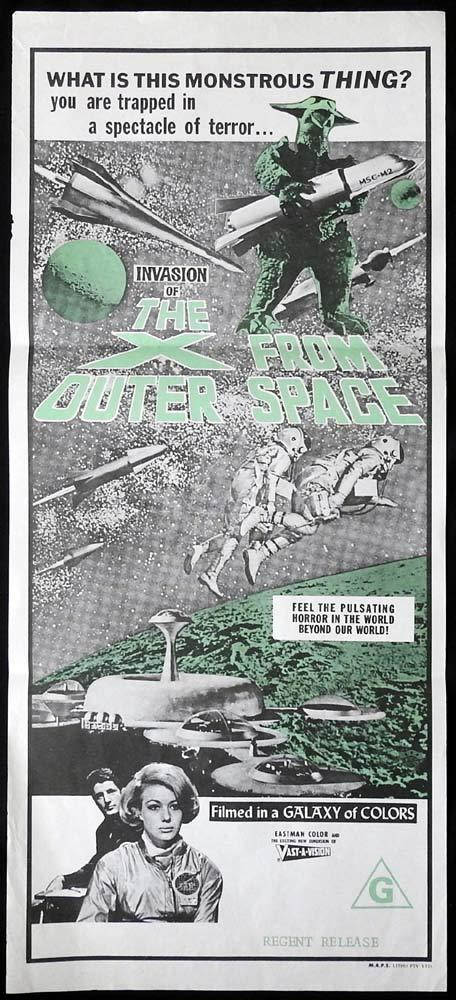 THE X FROM OUTER SPACE Original Daybill Movie poster Toshiya Wazaki Sci Fi