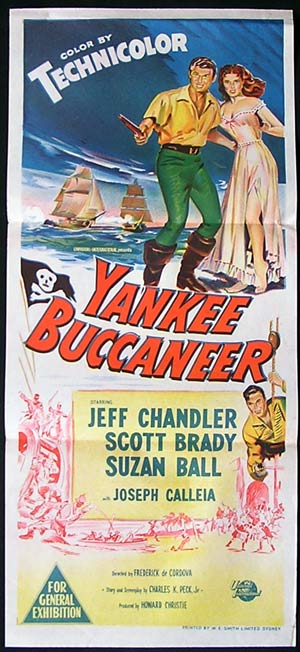 YANKEE BUCCANEER Movie poster 1952 Jeff Chandler daybill