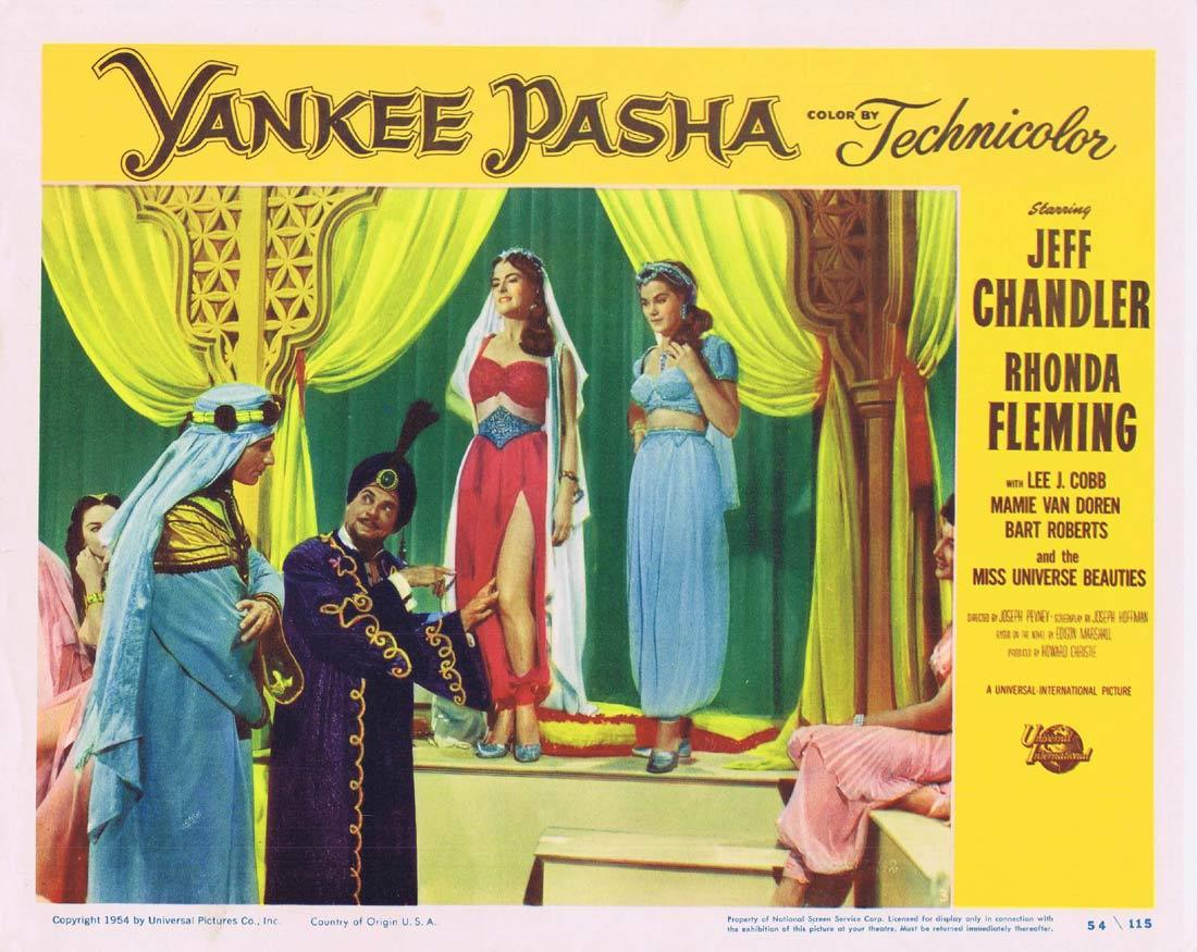 YANKEE PASHA Original Lobby Card 3 Jeff Chandler Rhonda Fleming