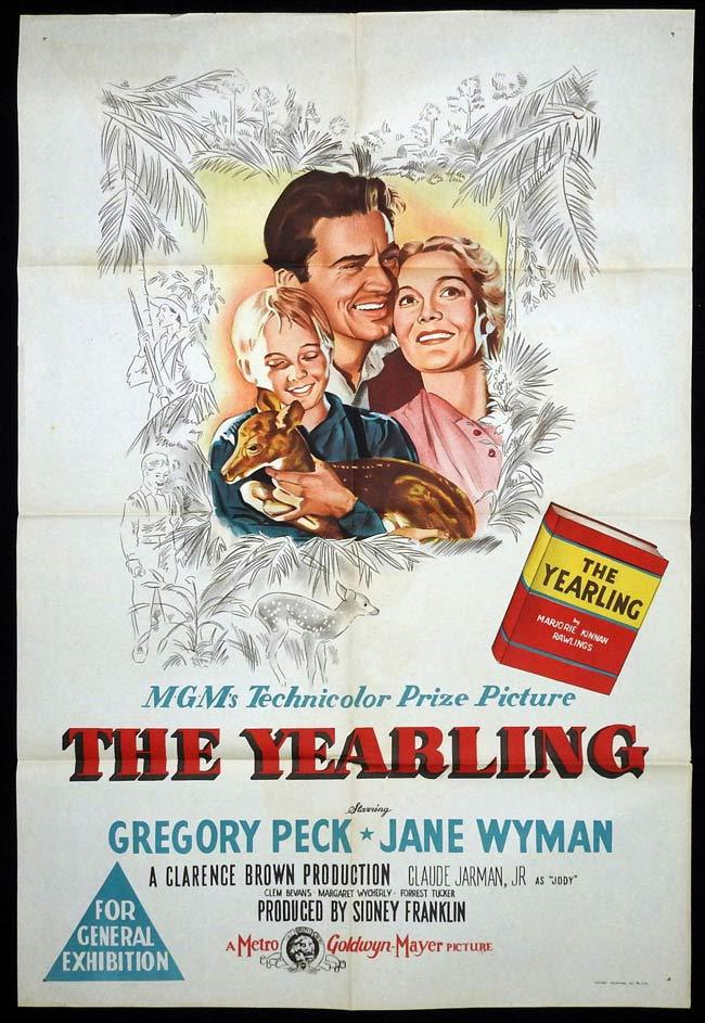 THE YEARLING Original One sheet Movie poster Gregory Peck Jane Wyman