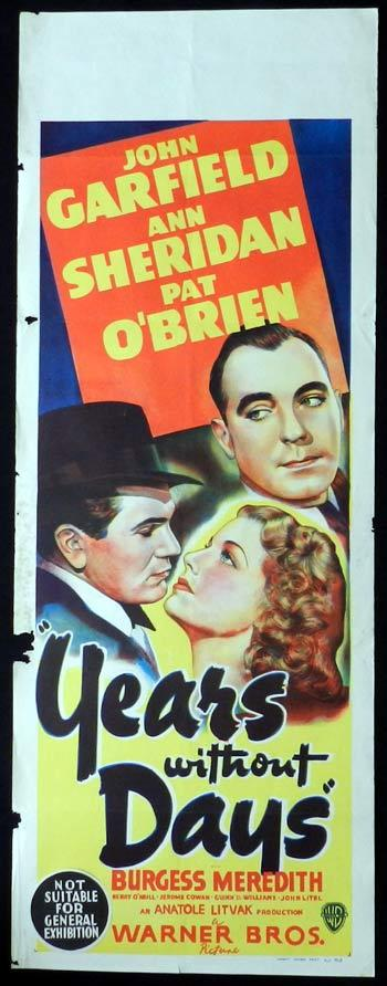 YEARS WITHOUT DAYS aka Castle on the Hudson Long Daybill Movie poster John Garfield