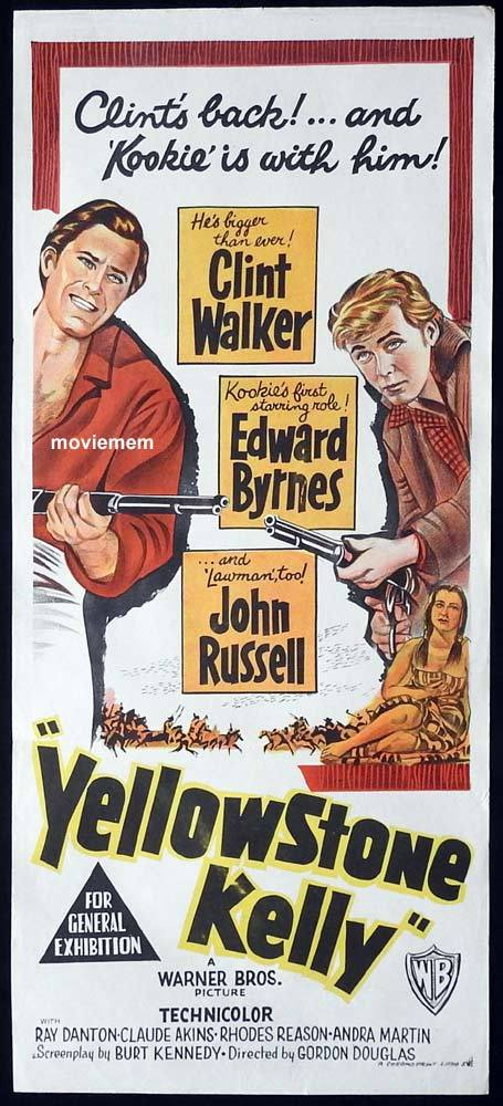 YELLOWSTONE KELLY Original Daybill Movie Poster Clint Walker Edd Byrnes