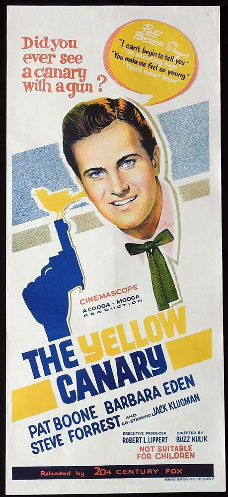 THE YELLOW CANARY Original Daybill Movie Poster Pat Boone Barbara Eden