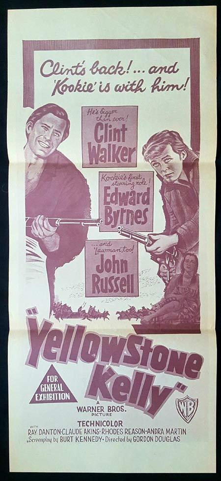 YELLOWSTONE KELLY Original daybill Movie Poster Clint Walker Ed Byrnes