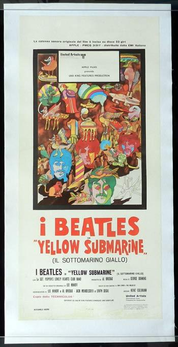 YELLOW SUBMARINE Italian Locandina Movie Poster THE BEATLES Linen Backed