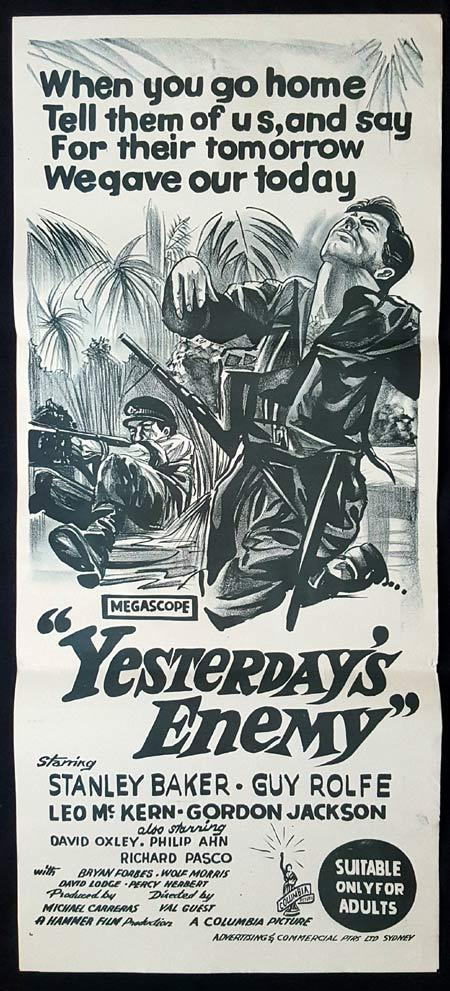 YESTERDAY'S ENEMY Original daybill Movie Poster Stanley Baker Gordon Jackson Leo McKern